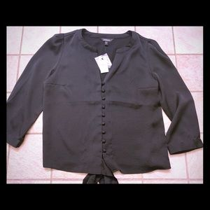 NWT- express black v neck button down top